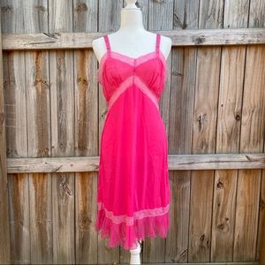 Vintage Hot Pink Lace Pleated 60's Nightgown Slip